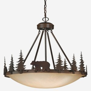 Large Bowl Glass Pendant (Vaxcel PD55724BBZ 4 Light Bozeman Bowl Large Pendant, Burnished)