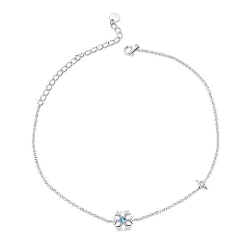 (Sterling Silver Ankle Bracelet for Women Girls with Swarovski Crystal, Aquamarine Blue Snowflake Dainty Beach Anklet 10'' Adjustable)