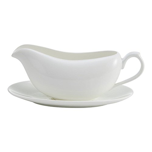 Mikasa Lucerne White Gravy Boat with Saucer ()