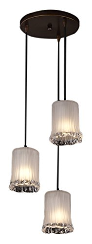 (Justice Design Group Veneto Luce 3-Light Pendant - Dark Bronze Finish with White Frosted Venetian Glass Shade )