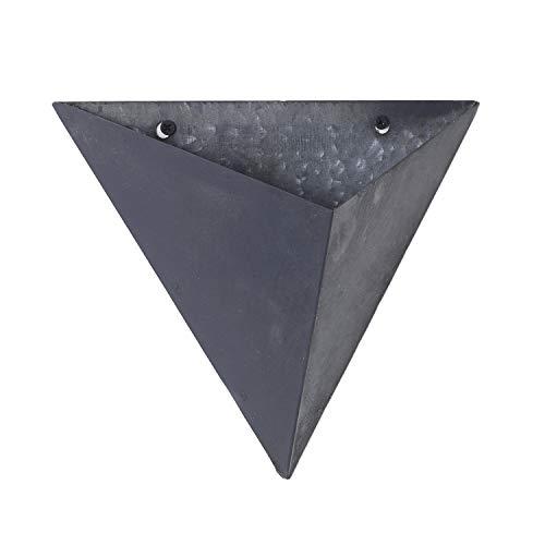 Triangular Wall Pocket Basket Planter, Slate Grey Metal