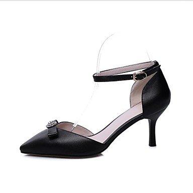 LvYuan MujerZapatos del club-Sandalias-Oficina y Trabajo Vestido Fiesta y Noche-Cuero-Negro Blanco Black