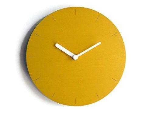 19cm Leise kleine Holzuhr fü r die Wand 20 Verfü gbare Farben als gelb Batteriebetrieb Aus Pappelsperrholz Cooles kleines Uhren-Design des italienischen Designers Handgefertigt in Italien