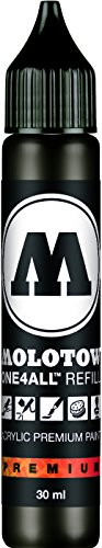 Molotow ONE4ALL Acrylic Paint Refill, For Molotow ONE4ALL Paint Marker, Signal Black, 30ml Bottle, 1 Each (693.180)