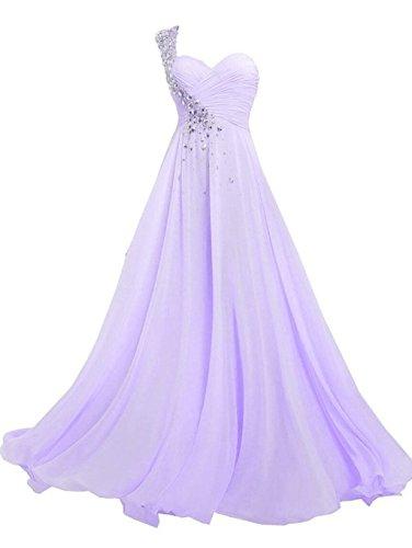 Mousseline De Soie Robes De Demoiselle D'honneur De L'épaule De Lavande Longue De Robes De Bal Des Femmes De Mariée Annie
