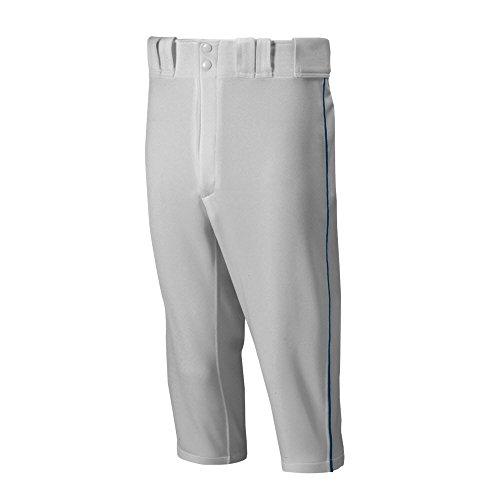 Mizuno Adult Mens Premier Piped Short Baseball Pant, Grey-Navy, Medium
