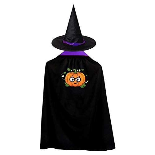 Learned Pumpkin Kids' Witch Cape With Hat Generous Vampire Cloak For Halloween Cosplay Costume -