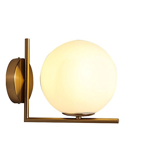 Iron Wall Light, Modern Minimalist White Round Glass Gold Accessory Iron Wall Lamp, Nordic Bedroom Bedside Living Room Aisle Stairs Balcony Dual-use Flexible Direction Sconce Ceiling Light