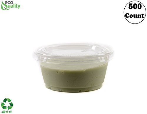 3.25 Ounce Clear Plastic Disposable Portion Cups with Lids 500 Pack by EcoQuality, Jello Shot, Souffle Cups, Condiments, Sampling Cups, Complements (3.25 oz) ()