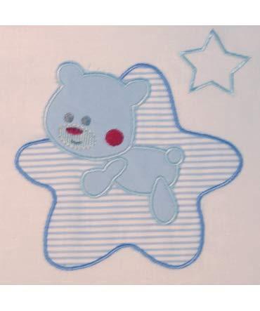 Medidas sabanas beb/é Maxicuna 10XDIEZ Juego DE S/ÁBANAS Cuna Franela Star Blanco//Azul 70x140cm