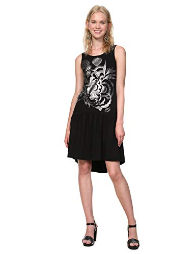 Para 2000 Desigual negro Black Negro Sleeveless Mujer Vestido Woman Dress Omahas xw7Rq7BY