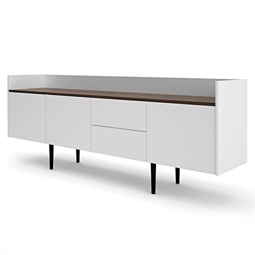 Tvilum 7004849dj Unit 2 Drawer and 3 Door Sideboard, White/Walnut