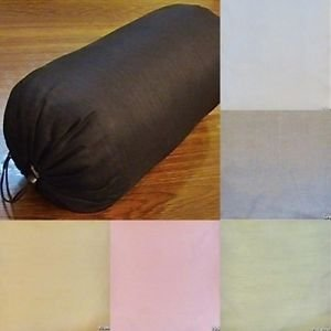 - Saffron Round Bolster Cover Faux Silk Yoga Massage Neck Pillow Removable 6