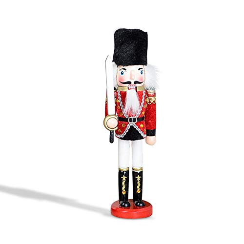 Aolvo Wooden Christmas Nutcracker Soldier-Traditional Wooden Soldier Nutcracker in Classical Suit 30 cm Tall Wooden Soldier Nutcracker on Stand,Tall Handmade Wooden Nutcrackers for Home Decoration