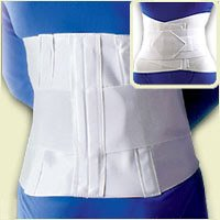 FLA 10'' Lumbar Sacral Back Support with Abdominal Belt #31208 - Universal White