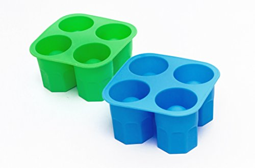 Kitchengossips Basics Silicone Party Shot Glass Maker Mould Set Blue   Green   BPA Free