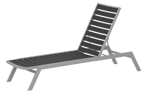POLYWOOD AC1FASGY Euro Chaise, Textured Silver/Slate Grey