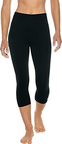 Yoga Capri Asana - Coolibar UPF 50+ Women's High-Rise Asana Yoga Capris - Sun Protective (Large- Black)