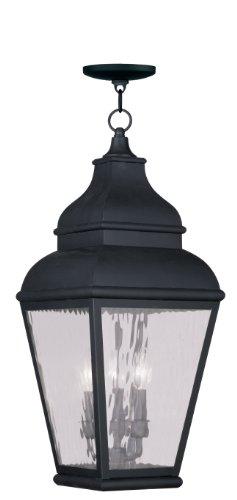 Livex Lighting 2610-04 Exeter 3-Light Outdoor Hanging Lantern, Vintage Pewter