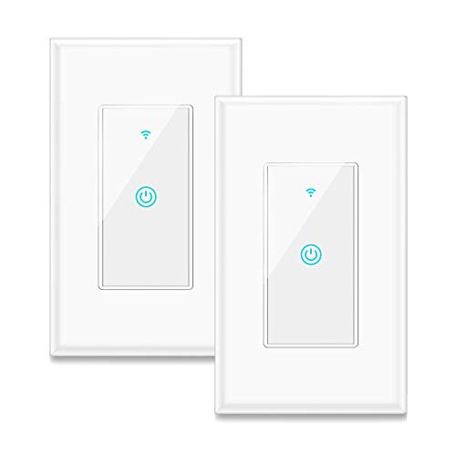 Smart Switch, Aicliv WiFi Light Switch Works with Alexa, Google Home and IFTTT, Requires Neutral Wire, Easy In-Wall Installation, Control Light Remotely via App, No Hub Required, 2 Packs