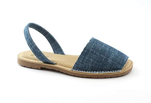 Ria Chaussures Femme Coton Bio Jeans Minorchine Semelle Rembourré Vegan Blu