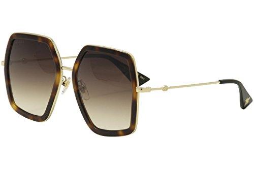 Gucci GG 0106 S- 002 002 HAVANA / BROWN / GOLD - Square Sunglasses Havana Gucci Frame