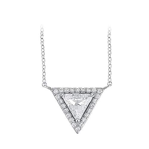 - Gercia Triangle Shape Pendant Necklace in White Gold Plated Diamond Simulant Cubic Zirconia Jewelry for Women,Crystal from Swarovski