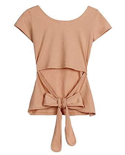 Bandages Été Aprikose Sweat Chemises Pull Casual Solide Blouse Tops Bowknot Rond Marque Col Couleur Mode Femmes w1wRfC0q
