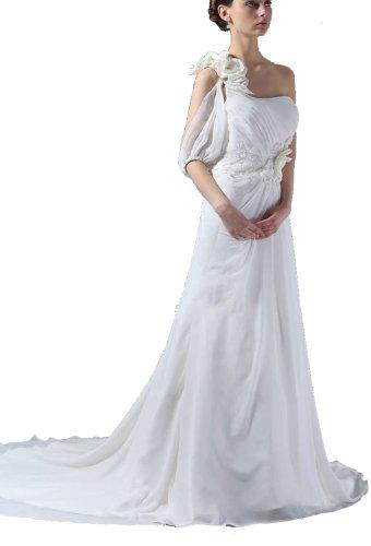 Albizia Womens One-shoulder Pleated Chapel Train Chiffon Wedding Dress by ALBIZIA