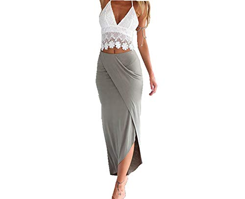 Two Piece Crop Tops and Skirt Dress Set, Keepfit Womens Lace Slim Backless Dresses (M, White)