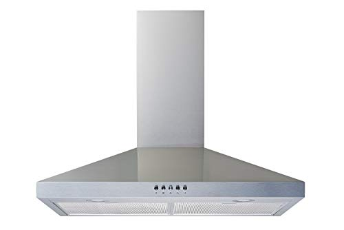 Winflo New 30 Convertible Stainless Steel Wall Mount Range Hood with Aluminum Mesh filter, Ultra bright LED lights and Push Button 3 Speed Control