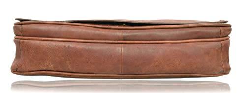 Leather Messenger Bag for Men With Laptop Sleeve 16Lx12Hx3.5D inches Cognac V-élan