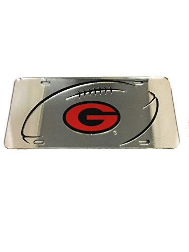 GA Bulldogs Mirror Laser License Plate Football and G logo Flag Logo License Plates