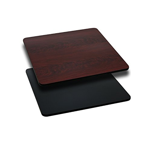 Flash Furniture 24'' Square Table Top with Black or Mahogany Reversible Laminate Top ()