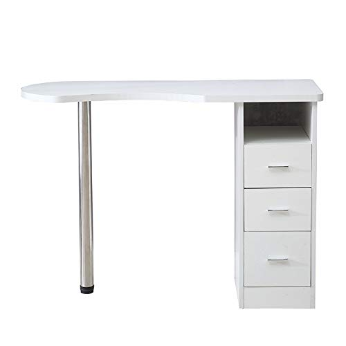 Goujxcy Nail Table Portable Manicure Table Station with 4 Drawers a Cupboard and Wrist Rest Mobile Nail Table Salon Desk Equipment,White