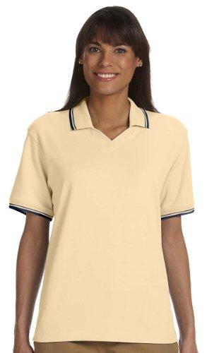 Devon & Jones Womens Tipped Perfect Pima Interlock Polo (D140W) -BUTTER/NAV -2XL - Tipped Jersey Sport Shirt