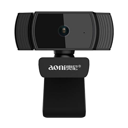 Full HD1080P Widescreen Webcam Lychee Automatic Focuse 1080P Camera for TV Desktop Laptop Video Calling & Recording Webcam Camera (Automatic Focus) (Black)