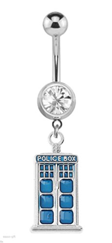 Cz gem Doctor Who Bright Blue Telephone Booth Tardis Dangle Belly navel Ring 14g