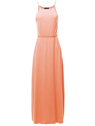 (SSOULM Women's Halter Neck Maxi Dress with Side Slit and Plus Size Peach 2XL)