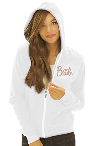 Bride Hoodie - Rose Gold Glitter Diamond Bride Zip Hooded Jacket - Bachelorette Party, Bridal Shower Sweatshirt - Small - White Hood(FrntBrd RsG) Wht/Sml