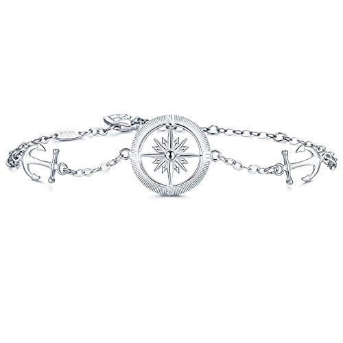AmorAime Womens 925 Sterling Silver Compass Anchor Charm Adjustable Bracelet Friendship Jewelry Mother's Day Gift