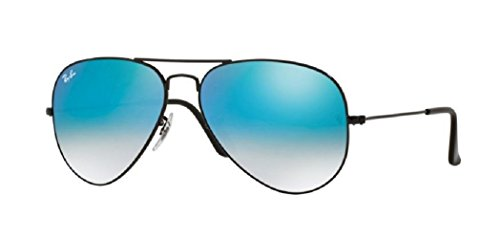 Ray Ban RB3025 AVIATOR LARGE METAL 002/4O 58M Shiny Black/Blue Gradient Mirror Sunglasses For Men For Women ()