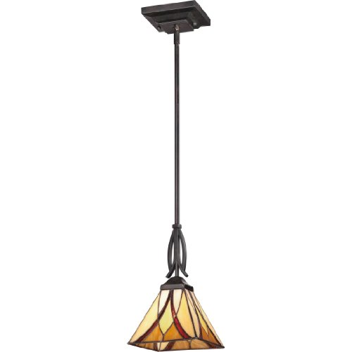 Quoizel Stained Glass Pendant - Quoizel TFAS1507VA Asheville Tiffany Glass Mini Pendant Lighting, 1-Light, 100 Watts, Valiant Bronze (12