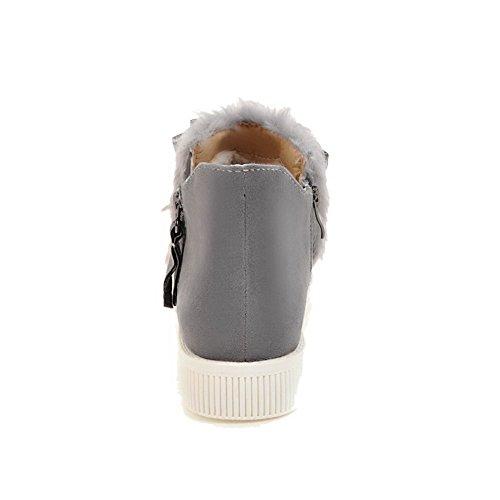 AgooLar Women's PU Low-Heels Round-Toe Solid Zipper Boots Gray EiDwF