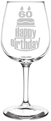 Personalized & Custom (60th) Three Tier Happy Birthday Cake Inspired - Laser Engraved 12.75oz Libbey All-Purpose Wine Taster Glass