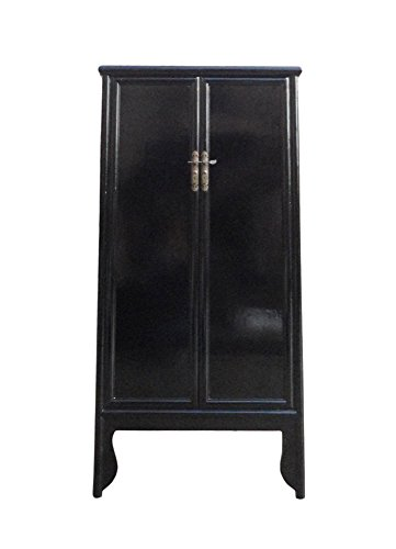 Chinese Oriental Black Lacquer Tall Armoires Cabinet Acs1141