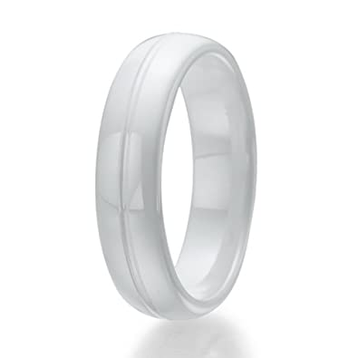 6mm White Ceramic Ring with engraved line Natural Diamond Amazon