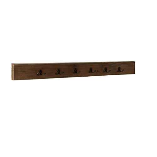 Alaterre Sonoma 48 Metal and Reclaimed Wood Wall Coat Hook, Brown