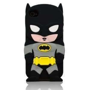 Minidandan Black 3d Cartoon Hero Batman Soft Silicone Back Case Cover Skin for Apple Iphone 4s