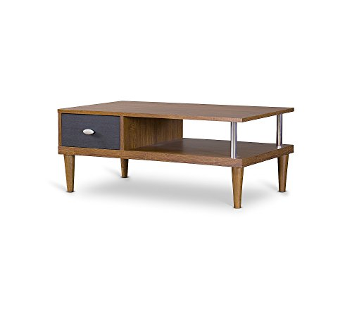 Baxton Studios Eastman TV Stand - Dark brown/Espresso Wood/chrome-plated metal Assembly required - tv-stands, living-room-furniture, living-room - 31kcYGH%2BGrL -